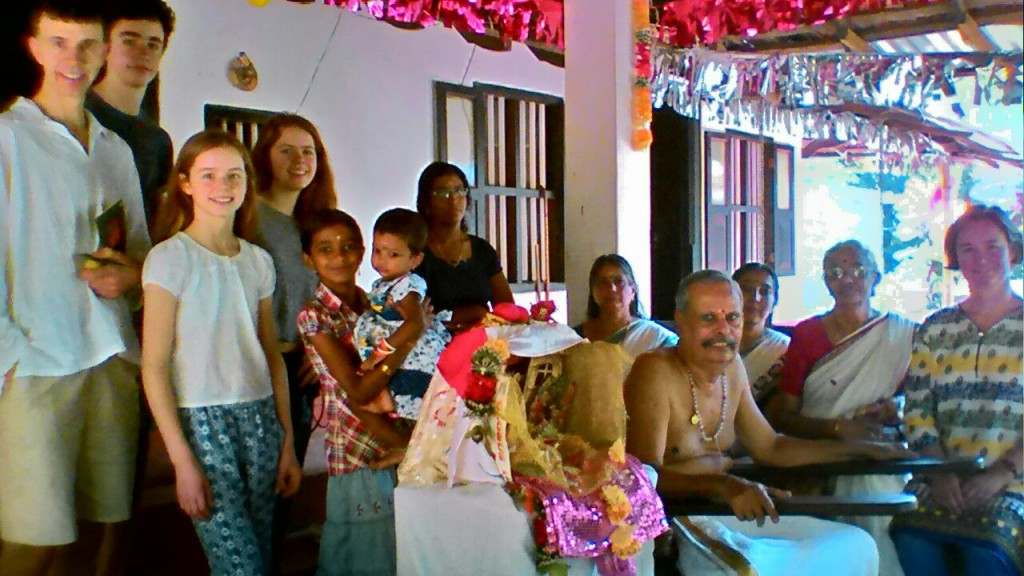 Family of David & Louise with the Hindu Brahmin family and their Christmas crib